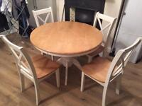 Dining table and four chairs wooden and off white