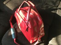 Red leather weekend bag/new