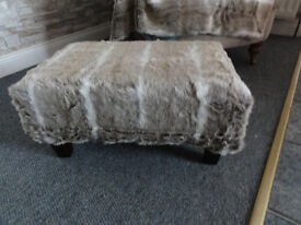 Norweigan Fur covered stool and fur throw and cushion