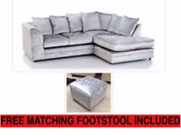 NEW R/H SILVER CRUSHED VELVET CORNER SOFA INCLUDES FREE DELIVERY & FREE MATCHING STOOL FOR £289.99