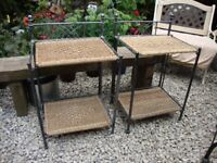 Pair Of Folding,Steel And Rattan,Free Standing Shelves.Approx 28 inches high.