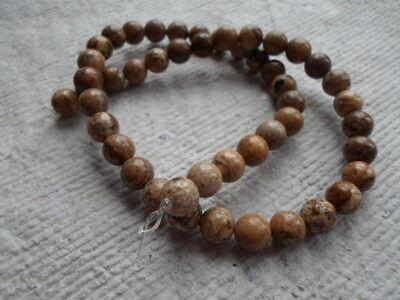 "16"" Strand of Picture Jasper Round Beads ~ 10mm"