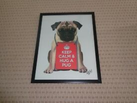 Keep Calm & Hug a Pug - Framed Picture