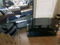 Glass furniture set tv stand nest of tables coffee table
