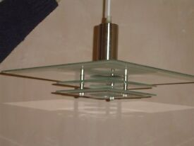 Rise and fall art deco style glass light fitting
