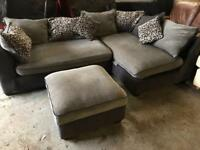 Black and grey fabric corner sofa+ foot rest