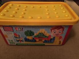 Mega bloks tub of bricks in almost new condition