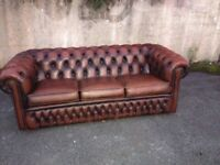 Brown Leather Chesterfield sofa / settee ( three seater )