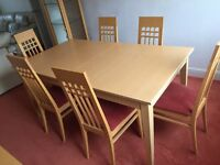 Dining table- extendable and 6 chairs
