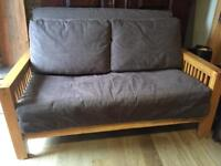 Solid Oak Sofa Bed By Futon Company With Mattress Pillows And Cover Mint Condition