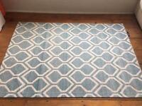 Blue & white geometric rug for sale
