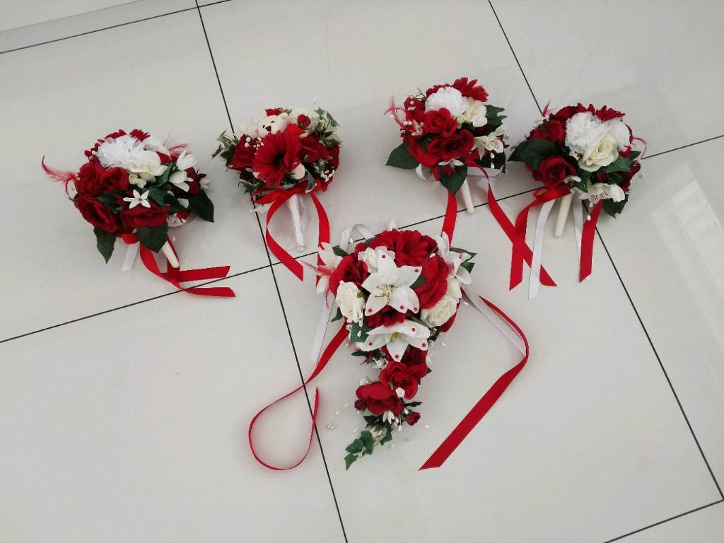 Redwhite Wedding Flowers 4 X Posey Bouquet New In Clifton