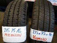 2 BRAND NEW TRANSIT TYRES CAME OFF SPARE WHEELS 1X MICHELIN 1X KHUMO £35 EACH SUPPLIED & FITTD