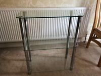 Glass and Steel 3 shelf unit - excellent condition - Didsbury area