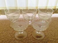 Set of 5 glass vintage dessert bowls dinner crockery