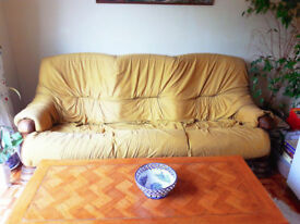 3 Seater Sofa with Solid Wood Frame - Comfortable Three Seat Wooden Fabric Sofa