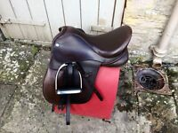 "REDUCED 15"" Dever Havana Brown Wide Leather Pony Saddle"