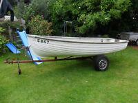 12 ft Fibreglass dinghy and Trailer