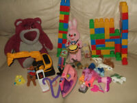 A bag of unused toys with retail value of around £87.00
