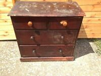 Victorian Pine Chest of Drawers, 2 short 2 long drawers original paint for stripping restoration