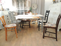 Funky industrial style shabby chic dining table with 6 chairs