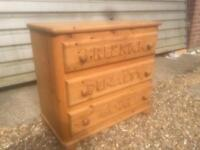 Solid chunky pine chest of drawers. Football themed. Dovetail Joints. 2 Available