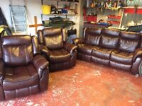 Like new leather fabric sofa and 2 reclining arm chairs
