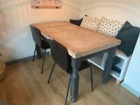 4 black chairs & solid heavy wood dining table