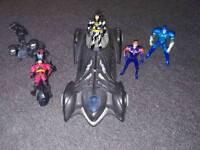 Batman and robin figures, villain, batman car and motorbike