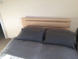 Double bed with wooden headboard and matress - £55
