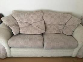 Three seater sofa , two seater sofa and a footstool