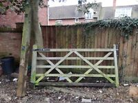 Traditional timber gate and post
