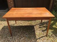Table (extendable) and 4 Chairs, Solid Teak, Danish Style.