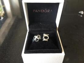 Pandora sliver and black glass charms