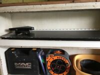 FREE for collection - Black wooden shelf with brackets