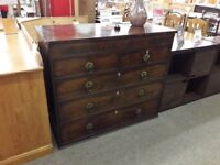 Antique Dark Wood 3 + 2 Chest of Drawers