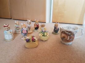 Collection of Authentic Royal Doulton Brambley Hedge Collectables 1980s - Figures, Cup & Flowers