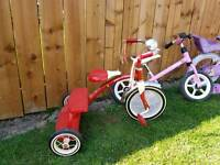 girls bikes and radio flyer 3 wheeler!