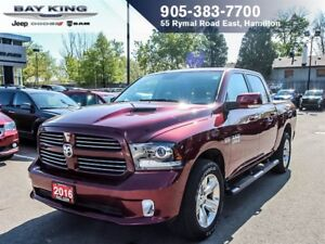 2016 Ram 1500 SPORT, 4X4, ONE OWNER, BACKUP CAM, BLUETOOTH, REMO