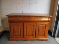 TWO DRAWER SIDEBOARD WITH LARGE SHELVED THREE DOOR CUPBOARD FREE DELIVERY