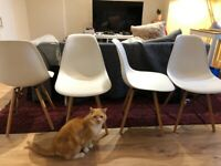 Charles Eames style DSW dining room chairs (x4) in white with wood legs