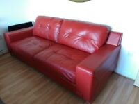 WOW Red Leather Sofa Fabulous Condition 3 Seater