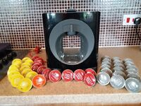 KRUPS Nescafe Dolce Gusto Coffee Machine plus 43 assorted coffee pods in As New condition