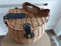Wicker Picnic Basket, Fishing Creel Shaped - no contents.