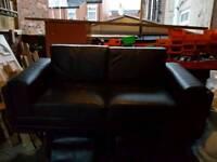 Free free free Black leather 3 seater sofa