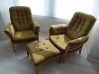 ERCOL TWO ARMCHAIRS AND ONE STOOL ORIGINAL RETRO IN VERY GOOD CONDITION