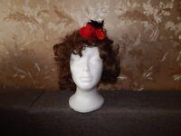 Ladies Mini Feather Rose Top Hat