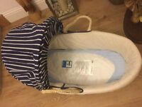 Moses basket from Mothercare, c/w mattress, unmarked
