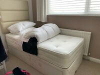 Excellent quality single bed , 2 drawers & leather headboard