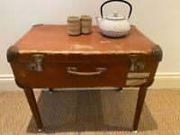Vintage tan leather suitcase table (coffee table) London.